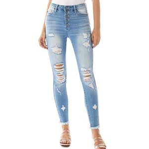 NWT KanCan distressed jeans with frayed hem